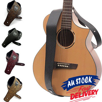 Soft Acoustic Guitar Strap Electric AU PU Leather Basses Luxury Classic