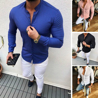 Luxury Men Slim Fit Dress Shirt Long Sleeve Stylish Formal Casual T-shirt Top
