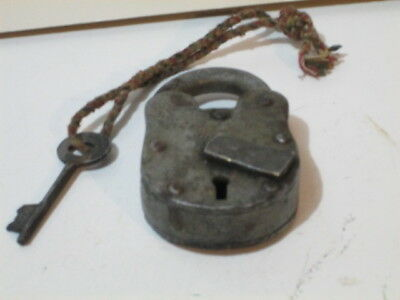 Antique padlock with one key