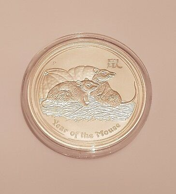 2008 Perth Mint Lunar Year of the Mouse 1oz .999 Silver Bullion Coin