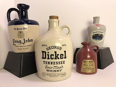 Vintage Stoneware Jug Lot - Long John & George Dickel Tennessee Whisky / Quetsch