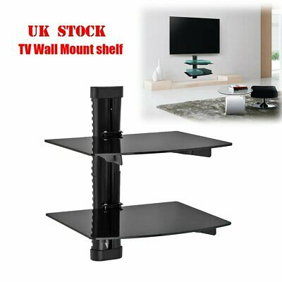 2 Black Floating Glass Shelves For DVD SKY BOX TV AV Xbox Wall Mounted