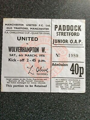 Manchester United v Wolverhampton Wanderers ticket stub 1975/76