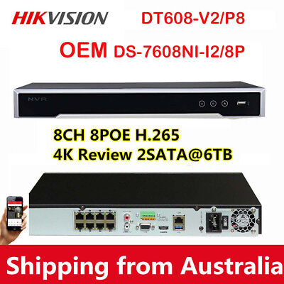 Hikvision Oem Ds-7608Ni-I2/8P Uhd 4K Poe P2P 8Ch Nvr Home System H.265 Recorder