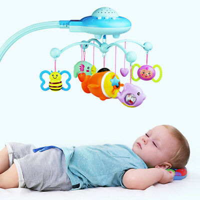 Baby Musical Crib Bed Cot Mobile Stars Dreams Light Flash Nusery Lullaby Toys BM