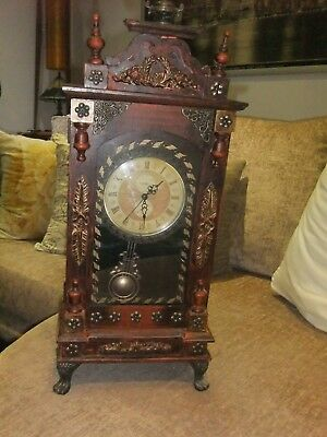 Reproduction Pendulum Dark Wood Mantle Clock