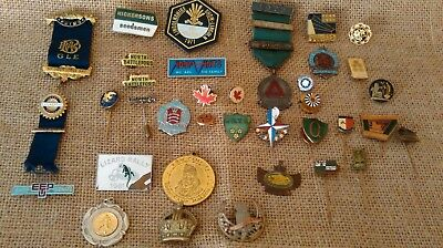 Antique & Vintage Job Lot / Collection of Badges ,enamel,WW2,Masonic,political