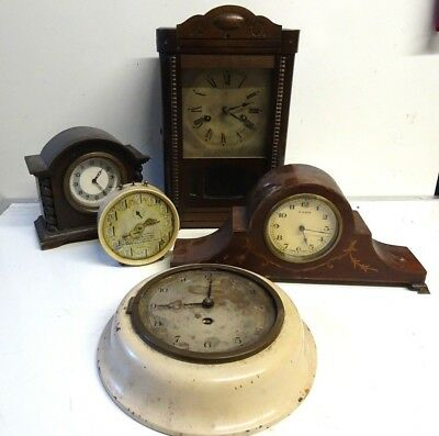 Collection Antique / Vintage Mantel & Wall Clocks Spares or Repair