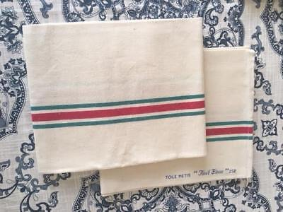 VINTAGE FRENCH Dishtowels,Red&Green Stripe,LINEN/COTTON,c.1930s-1950s,Set of 2