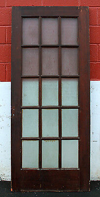 "33""x80 Antique French Exterior Entry Wood Wooden Door Textured Glass Window Lite"