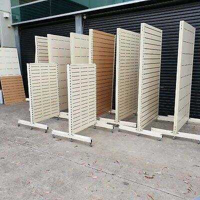 Slatwall Gondolas Double Sided Display Units Mobile On Wheels