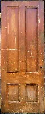 "34""x87"" Antique Vintage Victorian Interior Solid Wood Wooden Door 4 Flat Panels"