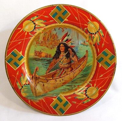 Rare Early 20Th C Native American Girl In Bark Canoe Tin Plate, W/native Symbols
