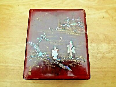 Vintage Japanese Red Lacquer Antique Box with Mother of Pearl & Abalone Inlay