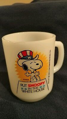 Vintage 1980 Put Snoopy in the White House Cup Anchor Hocking Peanuts #3