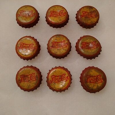 Vintage Lot of 9 Red and Yellow Pepsi Cola Soda Bottle Caps Cork Bottoms