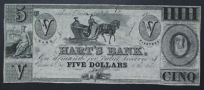 Canada, 1839, Hart's Bank, 5$ Note Imprint, XF Condition, Judaica #a122