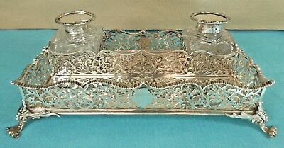 Victorian Sterling Silver Inkstand Inkwell Pierced George & Charles Fox 1848
