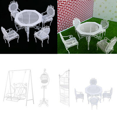 1/12 Doll House Miniature Garden Decor Metal Table Chairs Birdcage Swing