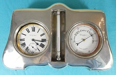 Large Sterling Silver Novelty Frame Goliath Watch Thermometre & Barometre 1912