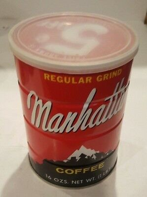 Vintage Manhattan Coffee Can Full Sealed 1 LB Can