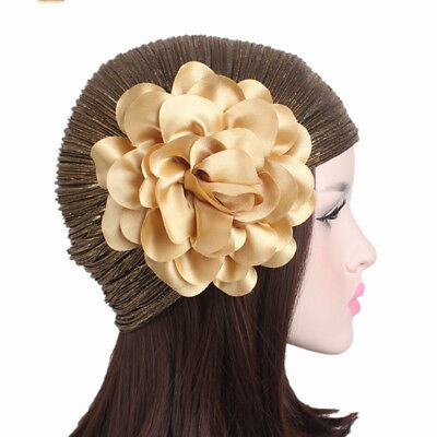 Hot Sale Stretchable Polyester Stamping Pleated Beauty Flower Head Hats N7