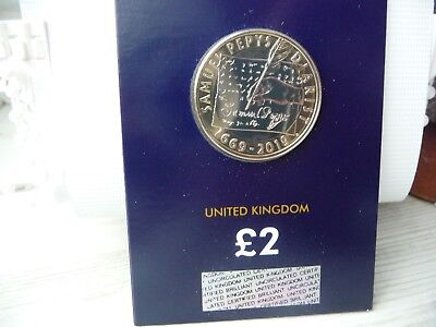 2019 Samuel Pepys' Diary £2 Two Pound BU Coin in Certified Pack. Brand New.