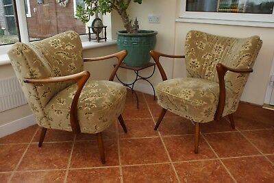 Pair Of Vintage German Armchairs Cocktail Chairs With Arms Mid Century Apr18-22