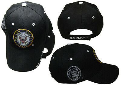 United States Navy Emblem US navy On Bill Black With Shadow Embroidered Cap Hat