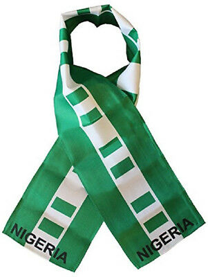 "Nigeria Country Lightweight Flag Printed Knitted Style Scarf 8""x60"""