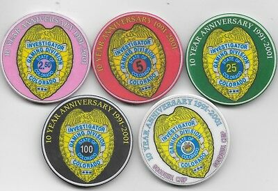 Very Nice 5 Casino Chip Lot Presented By COLORADO DIVISION OF GAMING-Neat Set