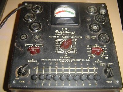 Vintage NRI Professional Tube Tester Model 68, for Parts or Repair