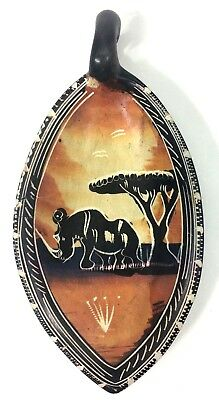 Carved Soapstone Spoon Rest Dish Ashtray Handle Kenya Rhino Tree African Scene