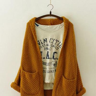 Women's Long Sleeve Coat Baggy Casual Cardigan Female Knitted Jumper Coat N7