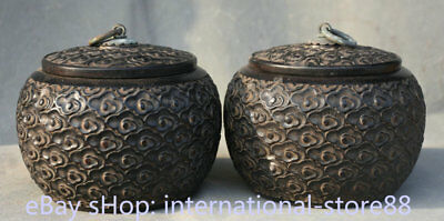 "5.2"" Rare Old Chinese Dynasty Palace Redwood Wood Hand Carved Pot Jar Crock Pair"