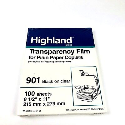 New Sealed Highland Transparency Film for plain Paper Copiers 100 Sheets
