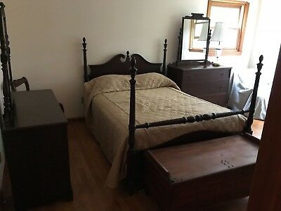 5 piece Vintage Antique Mahogany Bedroom Set 2 Dressers w mirrors, Chair, Vanity
