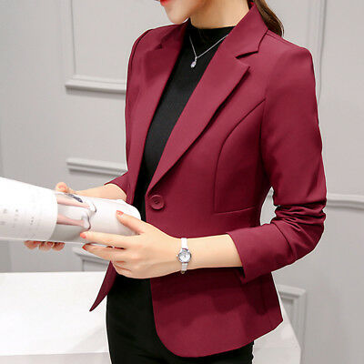 New Fashion Womens Suit Long Sleeve Solid Slim Casual Suit Jacket Blazer Coat N7