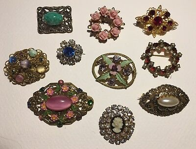 Job Lot Of Ten Beautiful Delicate And Colourful Vintage Brooches Of Various Ages