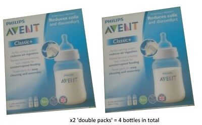 4 x Philips Avent Classic+ Baby Feeding Bottles 1M+ 0% BPA 260ml / 9oz