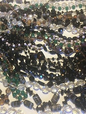 Job Lot Of 10 Sparkly Glass & Metal Vintage Necklaces Various Colours & Lengths