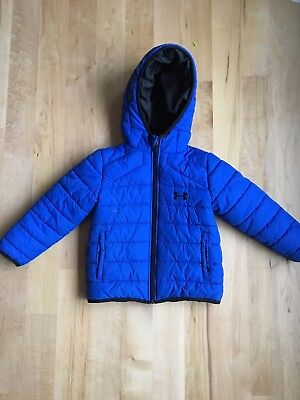 Under Armour Boys Blue Puffer Coat with Hood Size 4