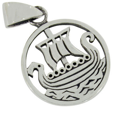 Viking dragon boat pendant celtic jewelry 925 sterling silver b658