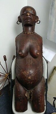 Antique African Carved Full Body Mask Pregnant Woman Makonde Tribe Tanzania 42""