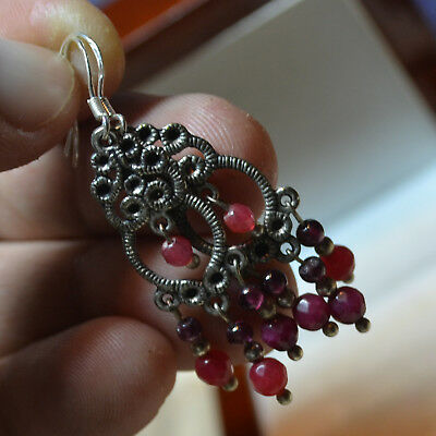 Estate Sterling Silver natural Ruby gemstones filigree Turkey Vintage Earrings