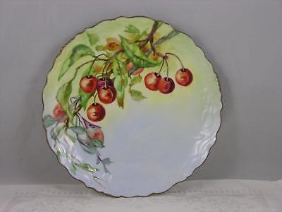 vintage hand painted cherries embossed decorative plate with gold trim