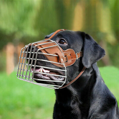 Leather Basket Muzzle for Large Dogs Pit bull Doberman German Shepard Adjustable