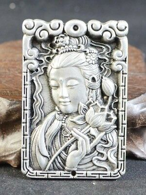 Vintage Old Tibetan silver Hand Made Statue Pendant Guanyin Asien Collection Top