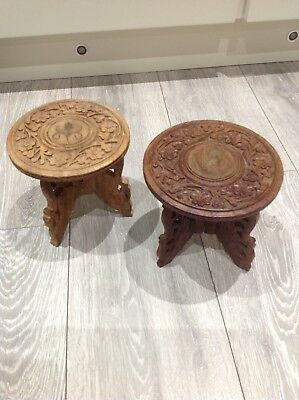 """Vintage Anglo/indian Carved Folding Wooden 6"""" Pot Stand Inlaid Elephant X 2"""