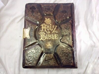 1881 Restored Parallel Bible Huge Victorian Large Leather Rare Antique Family